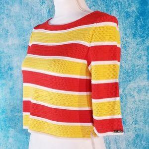 VTG St. John Red Yellow Striped Crop Knit Top